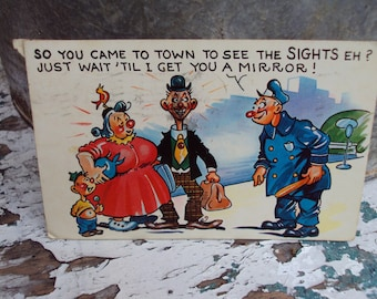 Vintage Post Card Country Come to Town 1960's Humorous Hillbilly Postcard