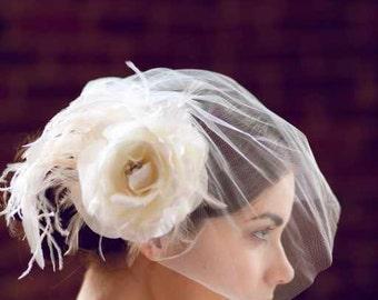 Short Tulle Birdcage Veil Chin Length - Short Veil - Short Bridal Veil by Ellen Marie