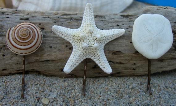 Set of 3-Seashell, Starfish, Sea Biscuit Bobby PIns, Beach Weddings, Mermaid Hair, Beach Bride