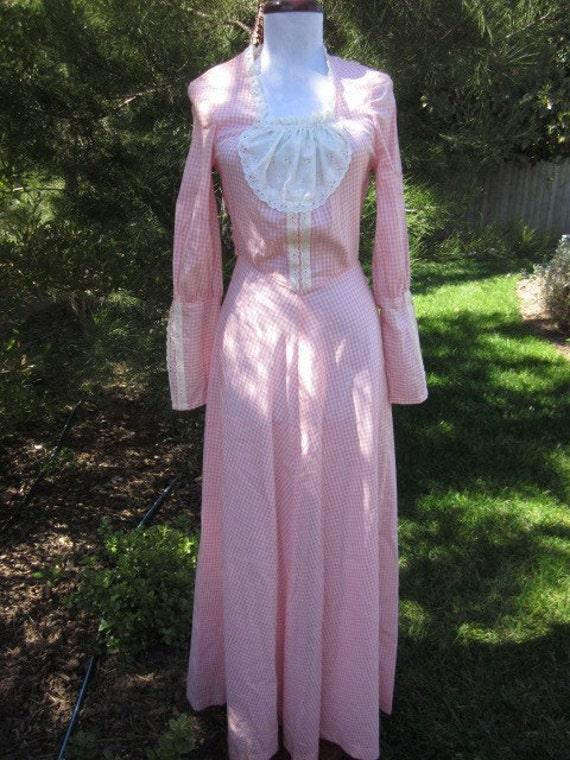 Reserved for Ariel Ray STOREWIDE SALE vintage 70s pink and white gingham prairie maxi dress