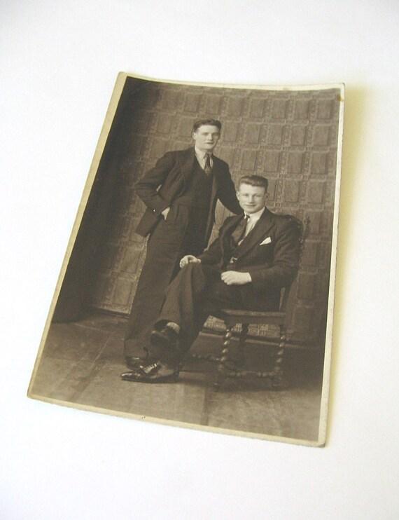 Two Gentlemen - Vintage Black and White Photo Postcard - Old Photo - Suited Gentlemen - Old Photo Of Men - Studio Photo