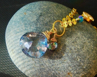 Mystic Topaz Quartz Necklace, RESERVED Mystic Treated Gemstone, AAA Mystic Periwinkle Starburst Heart Briolette, GF Disc Chain Necklace