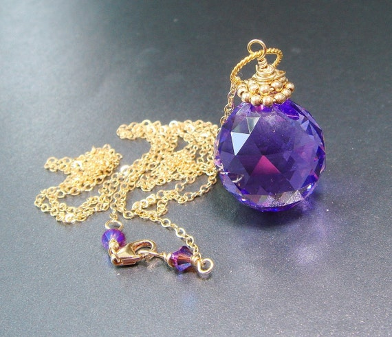 Swarovski Crystal Ball Necklace,  Suncatcher Blue Violet Prism, Onion Briolette Necklace Hypnotic Trance, Custom - Made to Order