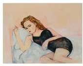 Vanessa Paradis Painting: Original Painting, Sultry French Boudoir Pose