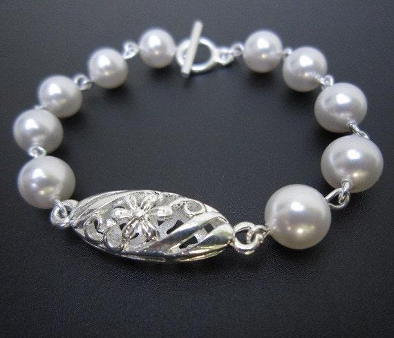 Bridal Flower Bracelet : Bridal swarovski pearl bracelet flower filigree by