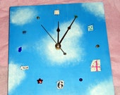 Clouds mixed media handpainted art clock -- unique home or office decor -- gift for fall birthday