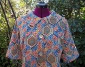 1950s Blouse Jacket Shirt Top Geometric Tribal Print Mad Men Mod Retro Rockabilly Koret of California Size 18