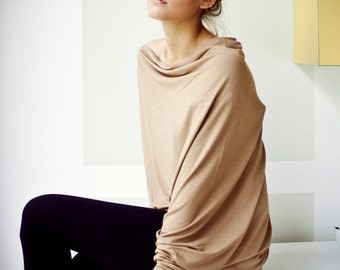 Blouse with buttons | Beige blouse | Asymmetrical blouse | LeMuse blouse with buttons