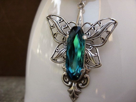 Blue Butterfly Necklace- Indicolite Blue Crystal Necklace N21
