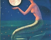 Mermaid art Full Moon sea Goddess spiritual greeting card print of painting by Sue Halstenberg