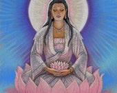 KUAN YIN spiritual art Buddha poster Zen meditation Buddhist Goddess lotus Buddhism print of painting