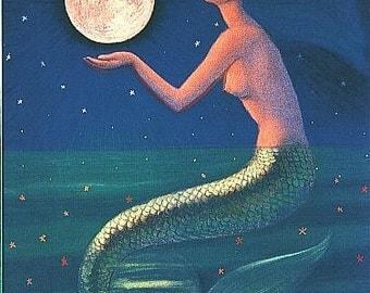 Mermaid art Full Moon sea Goddess spiritual greeting card print of painting by Sue Halstenberg