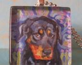 Shy Rottweiler Glass Tile Pendant by Gena Semenov - FREE SHIPPING
