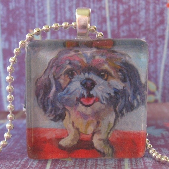 Funky Fluffy Dog Glass Pendant by Gena Semenov - FREE SHIPPING USA