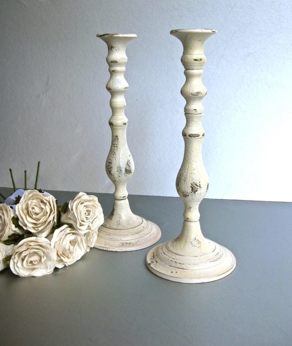 Rustic Candle Holders, Ivory Candle Holders, Candle Sticks, Shabby and Chic, Cottage Chic, French Country, Farmhouse, Beach Cottage