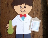 Scientist die cut paper doll