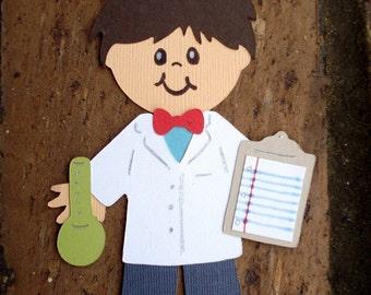 Scientist die cut paper doll