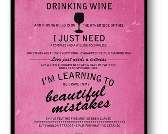 Crystal Ball / Pink / Lyric / DIGITAL Typography Poster / Printable