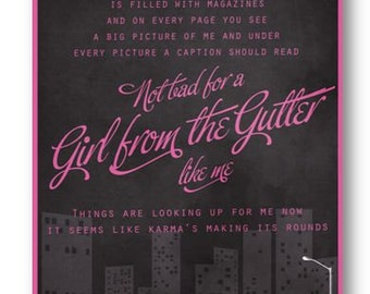 Girl From The Gutter / Kina / Lyric / DIGITAL Typography Poster / Printable