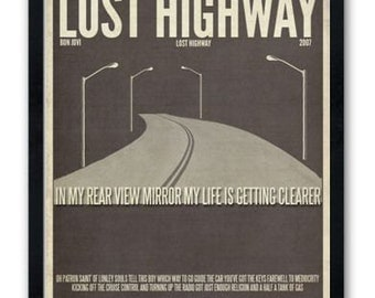 Lost Highway / Bon Jovi / Lyric / DIGITAL Minimalist Typography Poster / Printable