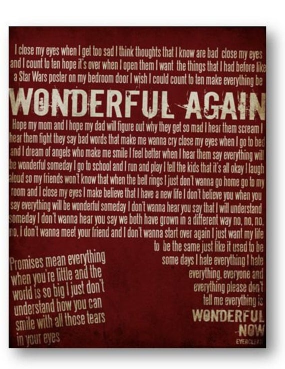 Wonderful / Everclear / DIGITAL Lyric Typography Poster / Printable