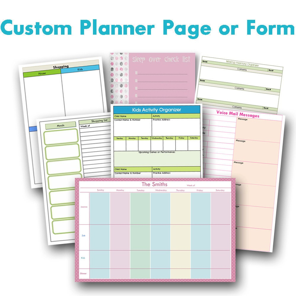 custom planner page or form digital by ataglancegraphics