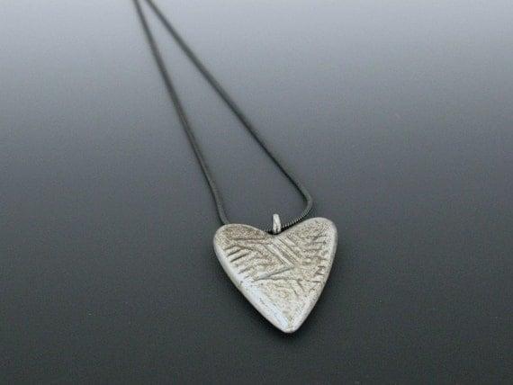 heart pendant - scratched heart