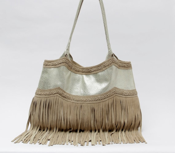 Metallic leather bag, Oversized leather tote, plus size bag, oversized bag, fringed tote, metallic fringed bag, silver leather fringe bag