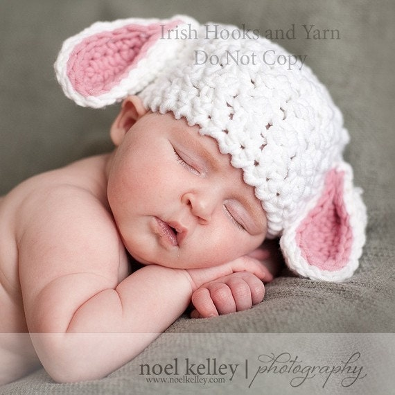 Crochet PATTERN Lovable Lamb Crochet Hat Pattern Includes Sizes Preemie to 3 Years