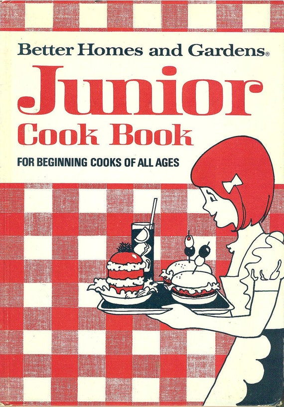BETTER HOMES GARDENS Junior Cook Book - Red Gingham Cover Like Mom's Cookbook Kitchen Training, 1972