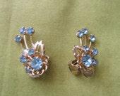 HOLD for Lissette Villegas.  Vintage 1950's, blue rhinestone Clip on Earrings.