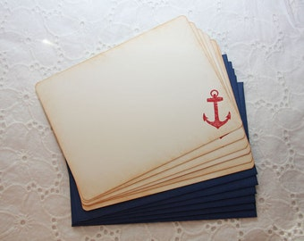 Red Nautical Stationery, Nautical Thank You Note, Anchor Stationery - Set of 6 cards and envelopes