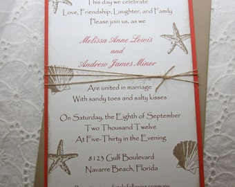 Beach Wedding Invitations/Wedding Invitations/Summer Wedding Invitations DEPOSIT