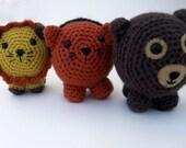 Amigurumi Lion, Tiger, Bear Set