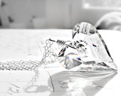 Wire Wrapped Heart Necklace Swarovski Crystal Sterling Silver