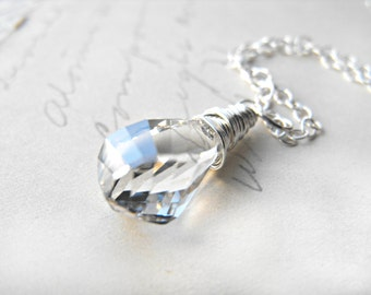 Ice Crystal Swarovski Pendant Necklace Wire Wrapped with Sterling Silver Crystal Twist Teardrop Briolette Snow Winter