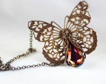 Rare Volcano Butterfly Necklace Victorian Filigree - Swarovski Crystal Vintage Estate Rhinestone Filigree Style