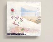 Floral Landscape Painting - Original Mixed Media Art - 8x8