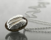 silver Pecan necklace, nature jewelry , Sterling Silver necklace nature related pendant, pecan silver