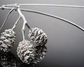 Branch with 3 Swedish mini Pine cones sterling silver