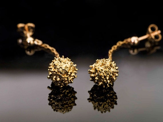 24K Gold Earrings Pine-Ball