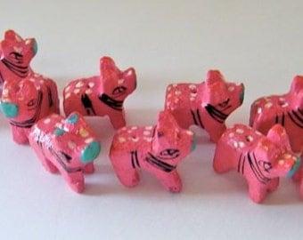 Wooden animal beads - ten (10) pink piglets  - NEW