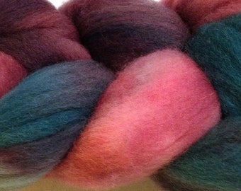 Wool Roving Hand Dyed in Desert Cactus
