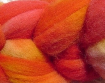 Wool Roving Hand Dyed in Sunset Red