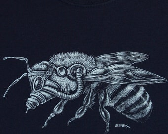 Tall sizes| Give Bees A Chance| Men's regular T shirt| Bee art by EMEK| No Monsanto| gas mask bee| up to 3XT| Insect| Bee farm| bee keeper.