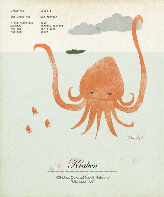 Kraken Giant Squid Illustration Large Print