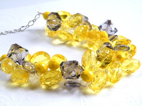 RESERVED Listing For Erica, Yellow and Gray Necklace, Chunky Beaded Necklace, Crystal ACRYLIC - Bridesmaid Necklace