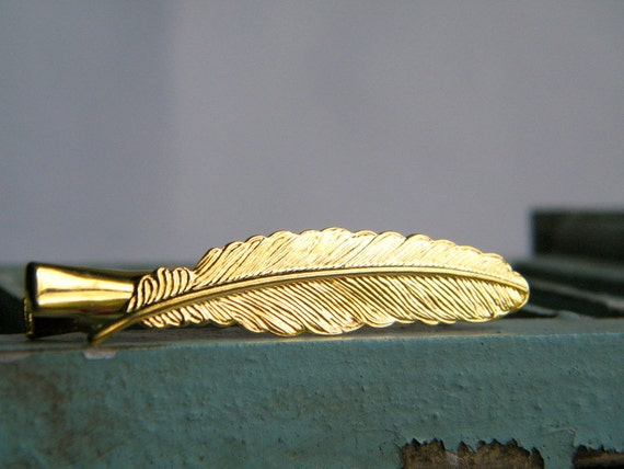 Feather Hair Clip, Gold Hair Clip, Gold Feather Clip