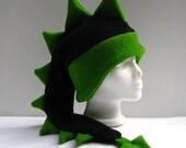 Dragon Hat - Black / Green Fleece Dinosaur Mens Womens Hat by Ningen Headwear
