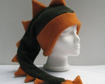 Dark Green / Orange Fleece Dinosaur Mens Boys Hat by Ningen Headwear
